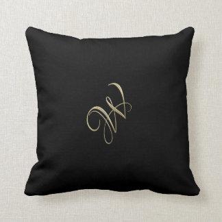 Golden initial W monogram Throw Pillow