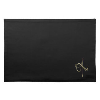 Golden initial X monogram Cloth Placemat