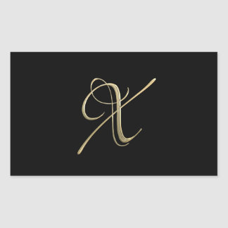 Golden initial X monogram Rectangular Sticker