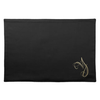 Golden initial Y monogram Cloth Placemat