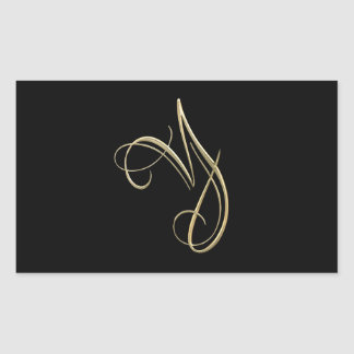 Golden initial Y monogram Rectangular Sticker