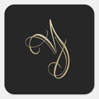 Golden initial Y monogram Square Sticker