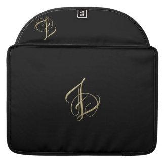 Golden initial Z monogram Sleeve For MacBook Pro