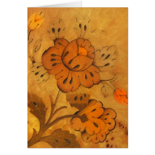 Golden Inlay Flowers Note Card