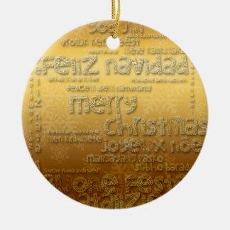 Golden International Christmas Round Ornament