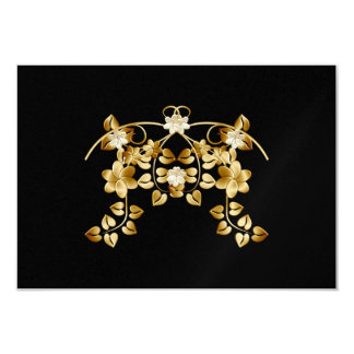 Golden Intertwined Vines and Flowers Card