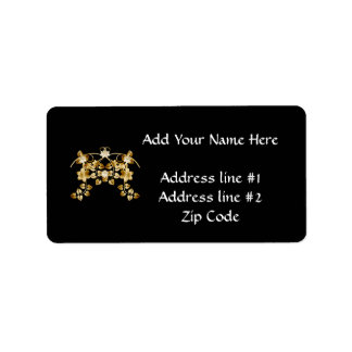 Golden Intertwined Vines and Flowers Label