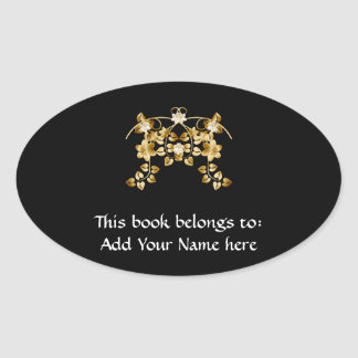 Golden Intertwined Vines and Flowers Oval Sticker