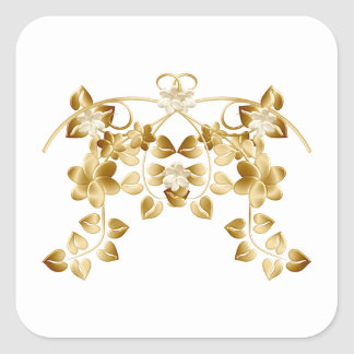 Golden Intertwined Vines and Flowers Square Sticker