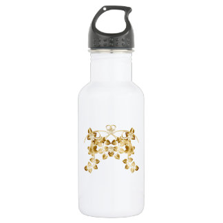 Golden Intertwined Vines and Flowers Stainless Steel Water Bottle