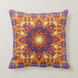 Golden Iris Mandala Throw Pillow