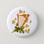 Golden Irish Harp Button