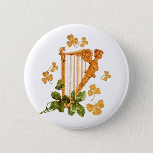 Golden Irish Harp with Green Shamrocks Standard Round Button
