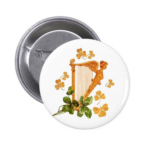 Golden Irish Harp Buttons