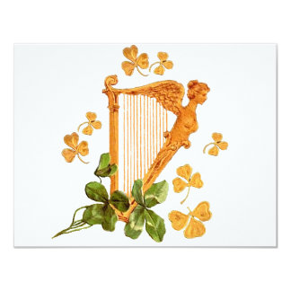 GOLDEN IRISH HARP CARD