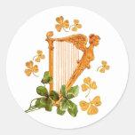 Golden Irish Harp Classic Round Sticker