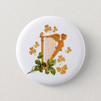 Golden Irish Harp - Erin Go Bragh Pinback Button