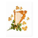 Golden Irish Harp Postcard