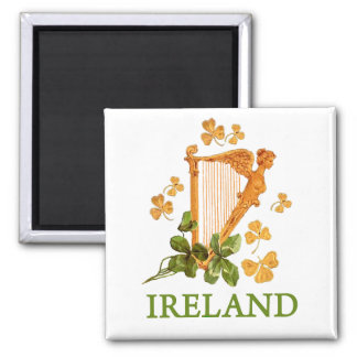 Golden Irish Harp with Golden and Green Shamrocks 2 Inch Square Magnet