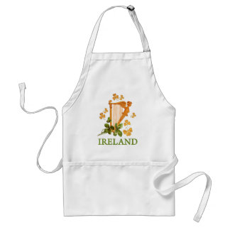 Golden Irish Harp with Golden and Green Shamrocks Adult Apron