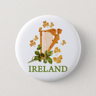 Golden Irish Harp with Golden and Green Shamrocks Button