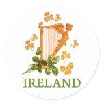 Golden Irish Harp with Golden and Green Shamrocks Classic Round Sticker