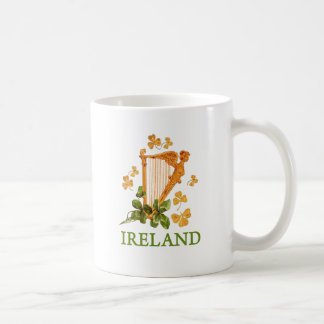 Golden Irish Harp with Golden and Green Shamrocks Coffee Mug