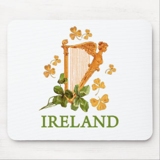 Golden Irish Harp with Golden and Green Shamrocks Mouse Pad