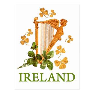 Golden Irish Harp with Golden and Green Shamrocks Postcard