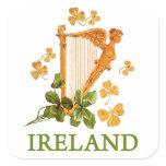 Golden Irish Harp with Golden and Green Shamrocks Square Sticker
