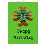 Golden Irish Shamrock Happy Birthday Card at Zazzle