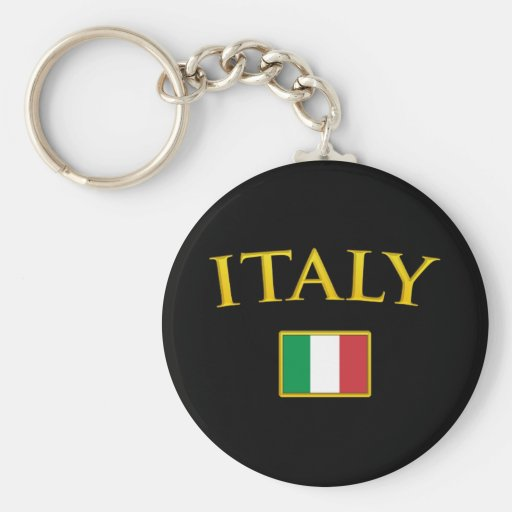 Golden Italy Basic Round Button Keychain