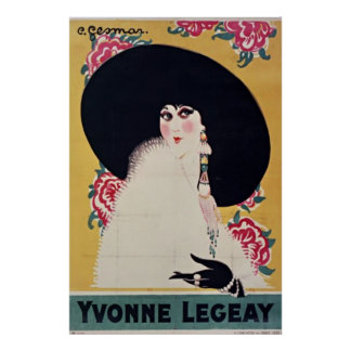 Golden Jazz Age Yvonne Legeay by Gesmar Poster