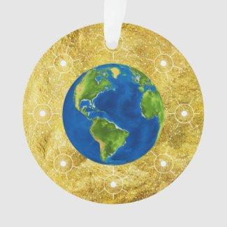 Golden Jesse Tree Globe Ornament