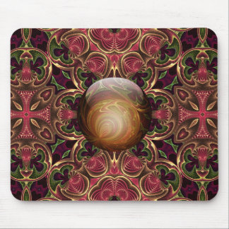 Golden Jewel against Red Tapestry Design Mouse Pad