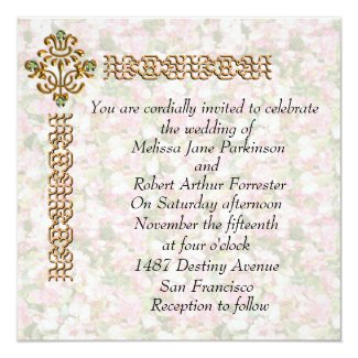Golden Jewelled Floral Wedding Invitation