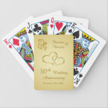 "Golden joined hearts 50th Wedding Anniversary Bicycle Playing Cards<br><div class=""desc"">Golden joined hearts and leafy swirls 50th Wedding Anniversary Playing Card. You can increase or decrease the joined hearts image and change font,  color,  size as well.</div>"