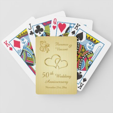 IrinaFraser Golden joined hearts 50th Wedding Anniversary Bicycle Playing Cards