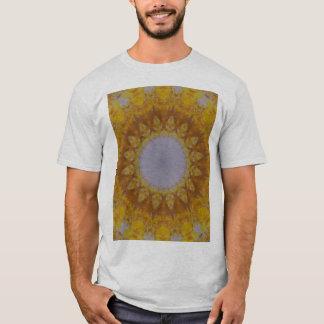 Golden Kaleidoscopic Psychedelic Flower T-Shirt