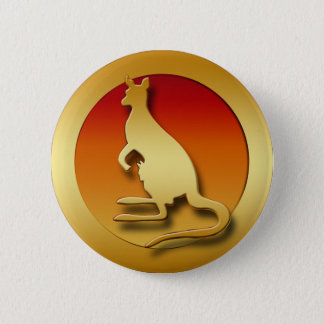 GOLDEN KANGAROO PINBACK BUTTON