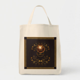 Golden key notes grocery tote bag