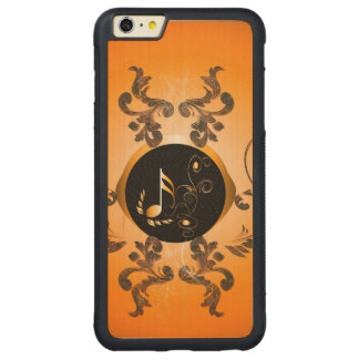 Golden key notes with floral elements carved maple iPhone 6 plus bumper case