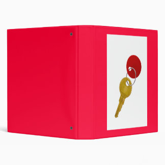 golden key with red tag 3 ring binder