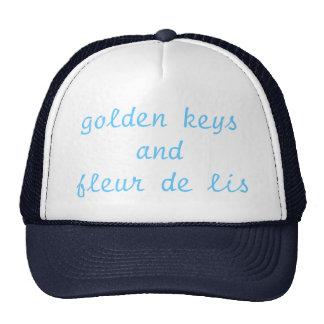 golden keys and fleur de lis trucker hat