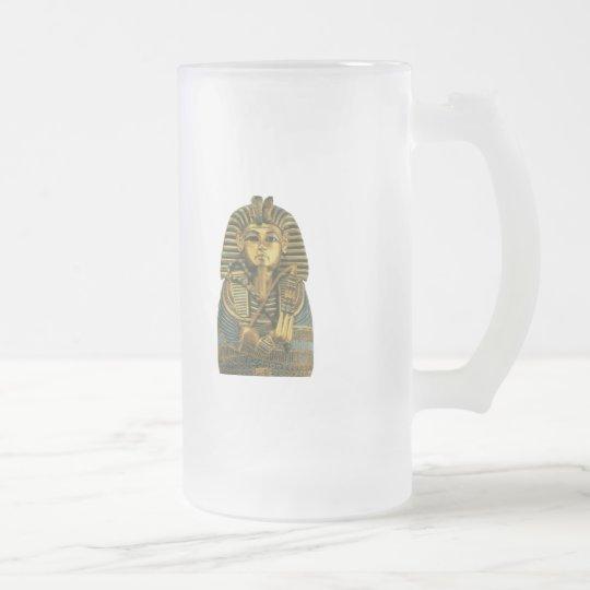 Golden King Tut Frosted Glass Beer Mug