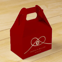 Golden Knot Double Happiness Red Wedding Favor Box
