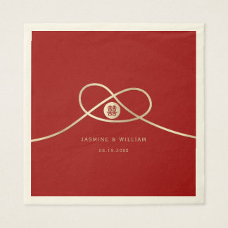 Golden Knot Double Happiness Wedding Paper Napkins