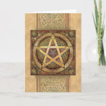 Golden Knotwork Pentacle Greeting Card