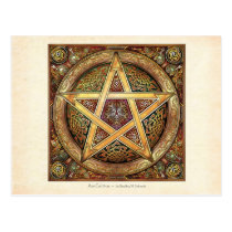 Golden Knotwork Pentacle Postcard