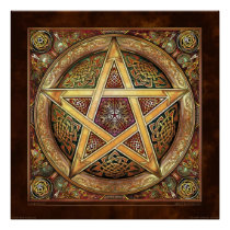 Golden Knotwork Pentacle Poster (22x22